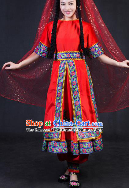 Chinese Traditional Tajik Nationality Stage Show Red Dress Ethnic Minority Folk Dance Costume for Women