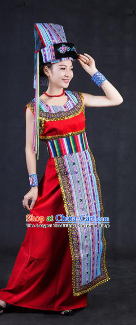 Chinese Traditional Drung Nationality Stage Show Red Dress Ethnic Minority Folk Dance Costume for Women