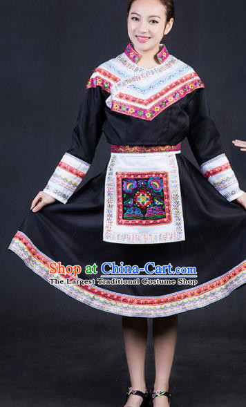 Chinese Traditional She Nationality Stage Show Black Short Dress Ethnic Minority Folk Dance Costume for Women