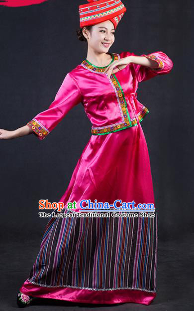 Chinese Traditional Blang Nationality Stage Show Rosy Dress Ethnic Minority Folk Dance Costume for Women