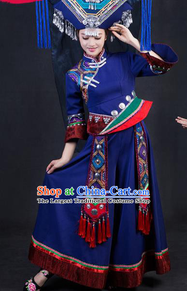 Chinese Traditional Zhuang Nationality Stage Show Navy Dress Ethnic Minority Folk Dance Costume for Women