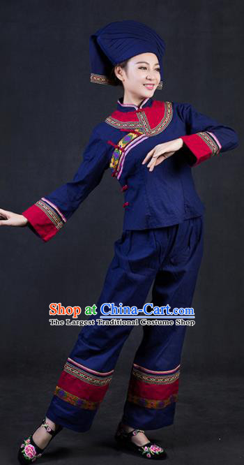 Chinese Traditional Zhuang Nationality Stage Show Dress Ethnic Minority Folk Dance Costume for Women