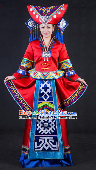 Chinese Traditional Zhuang Nationality Stage Show Wedding Red Dress Ethnic Minority Folk Dance Costume for Women