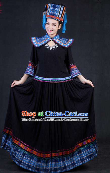 Chinese Traditional Yao Nationality Stage Show Black Dress Ethnic Minority Folk Dance Costume for Women