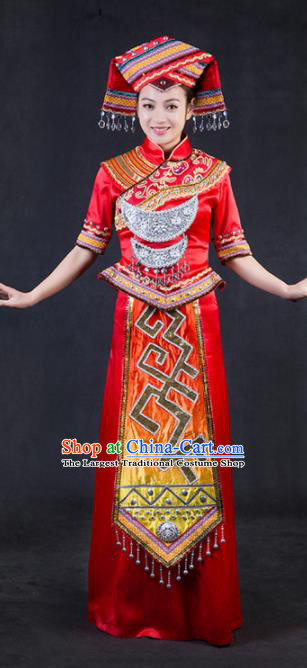 Chinese Traditional Zhuang Nationality Stage Show Red Dress Ethnic Minority Folk Dance Costume for Women