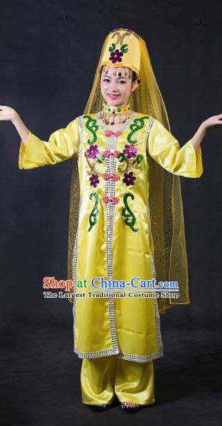 Chinese Traditional Dongxiang Nationality Stage Show Yellow Dress Ethnic Minority Folk Dance Costume for Women