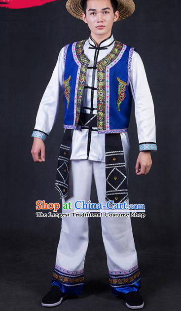 Chinese Traditional Jing Nationality Festival Compere Outfits Ethnic Minority Folk Dance Stage Show Costume for Men