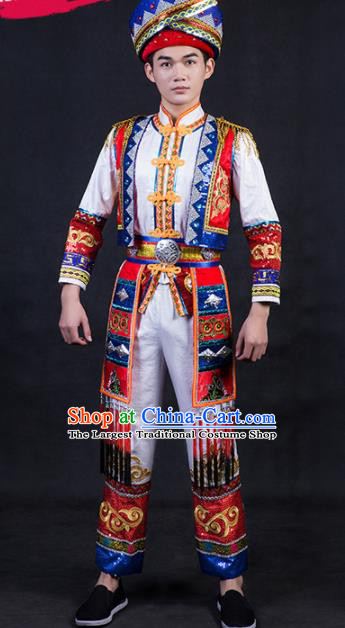 Chinese Traditional Zhuang Nationality Festival Compere White Outfits Ethnic Minority Folk Dance Stage Show Costume for Men