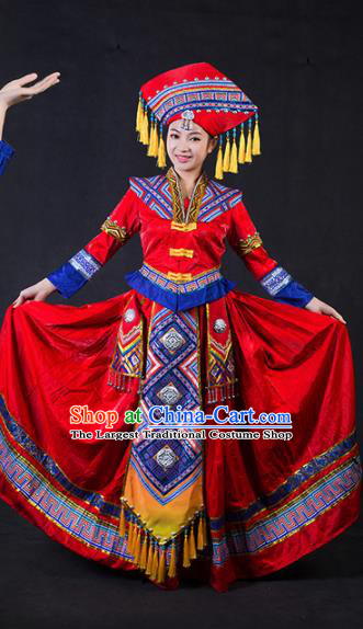 Chinese Traditional Zhuang Nationality Stage Show Bride Red Dress Ethnic Minority Folk Dance Costume for Women