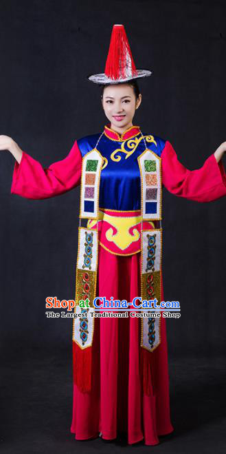 Chinese Traditional Yugur Nationality Stage Show Rosy Dress Ethnic Minority Folk Dance Costume for Women