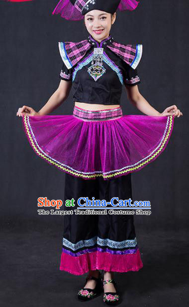 Chinese Traditional Zhuang Nationality Stage Show Outfits Ethnic Minority Folk Dance Costume for Women
