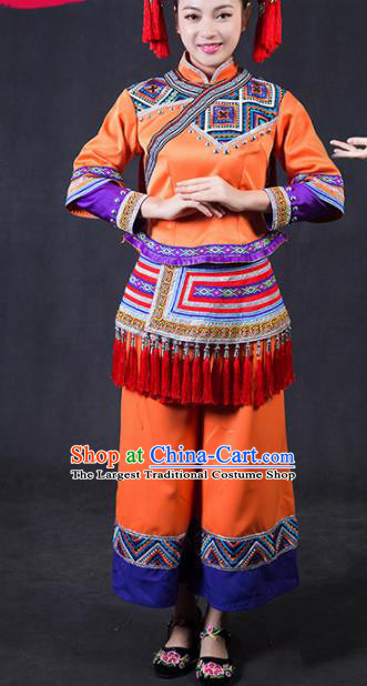 Chinese Traditional Yao Nationality Stage Show Orange Outfits Ethnic Minority Folk Dance Costume for Women