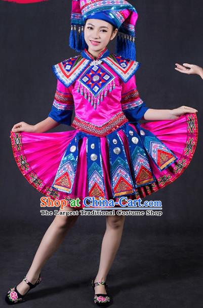 Chinese Traditional Zhuang Nationality Stage Show Rosy Short Dress Ethnic Minority Folk Dance Costume for Women