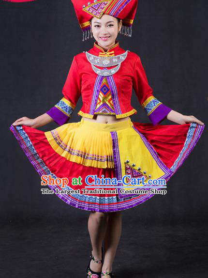 Chinese Traditional Zhuang Nationality Stage Show Red Short Dress Ethnic Minority Folk Dance Costume for Women