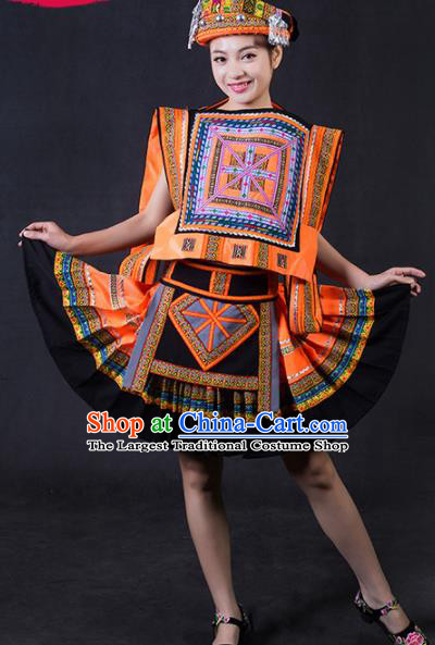 Chinese Traditional Yao Nationality Stage Show Orange Short Dress Ethnic Minority Folk Dance Costume for Women