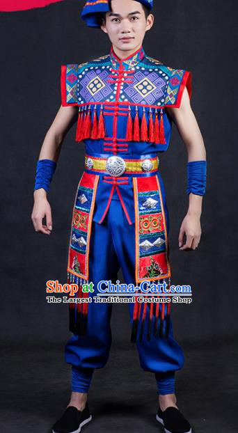 Chinese Traditional Yao Nationality Festival Compere Royalblue Outfits Ethnic Minority Folk Dance Stage Show Costume for Men