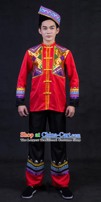 Chinese Traditional Zhuang Nationality Festival Compere Red Outfits Ethnic Minority Folk Dance Stage Show Costume for Men