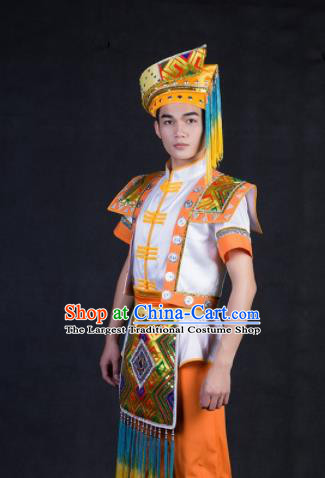 Chinese Traditional Zhuang Nationality Festival Compere Orange Outfits Ethnic Minority Folk Dance Stage Show Costume for Men