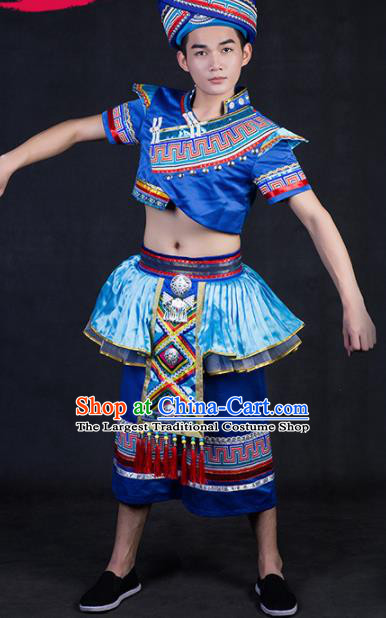 Chinese Traditional Zhuang Nationality Festival Compere Deep Blue Outfits Ethnic Minority Folk Dance Stage Show Costume for Men