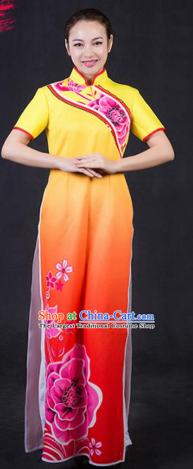 Chinese Spring Festival Gala Classical Dance Orange Qipao Dress Traditional Fan Dance Compere Costume for Women