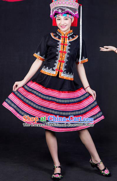 Chinese Traditional Lahu Nationality Stage Show Black Short Dress Ethnic Minority Folk Dance Costume for Women