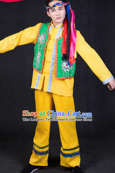 Chinese Traditional Hezhen Nationality Festival Compere Yellow Outfits Ethnic Minority Folk Dance Stage Show Costume for Men