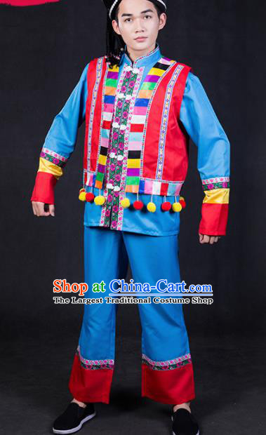 Chinese Traditional Yao Nationality Festival Compere Blue Outfits Ethnic Minority Folk Dance Stage Show Costume for Men