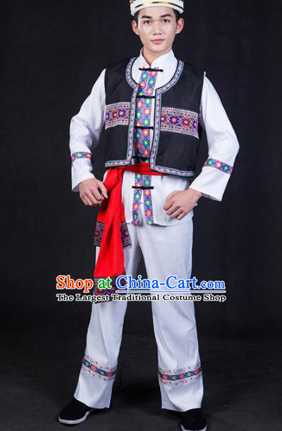 Chinese Traditional Tajik Nationality Festival Compere White Outfits Ethnic Minority Folk Dance Stage Show Costume for Men