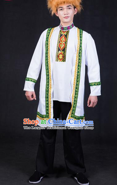 Chinese Traditional Kazak Nationality Festival Compere White Outfits Ethnic Minority Folk Dance Stage Show Costume for Men