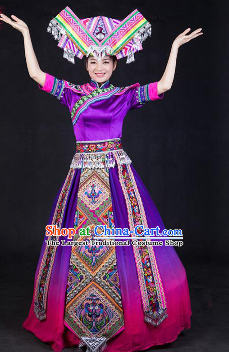 Chinese Traditional Zhuang Nationality Stage Show Purple Dress Ethnic Minority Folk Dance Costume for Women