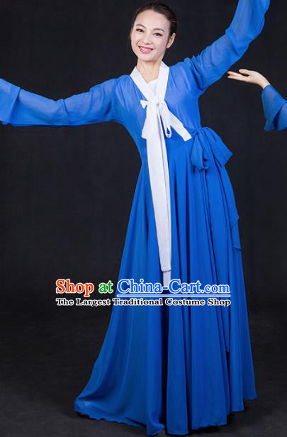 Chinese Traditional Korean Nationality Stage Show Blue Dress Ethnic Minority Folk Dance Costume for Women