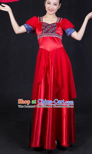 Chinese Spring Festival Gala Classical Dance Red Dress Traditional Fan Dance Compere Costume for Women