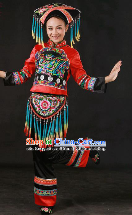 Chinese Traditional Zhuang Nationality Stage Show Embroidered Outfits Ethnic Minority Folk Dance Costume for Women