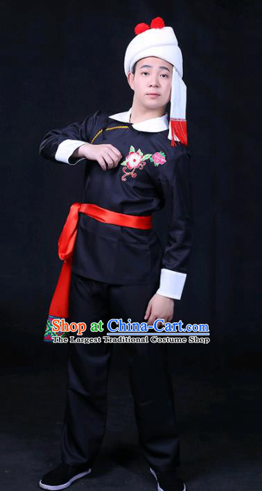 Chinese Traditional Achang Nationality Festival Compere Black Outfits Ethnic Minority Folk Dance Stage Show Costume for Men