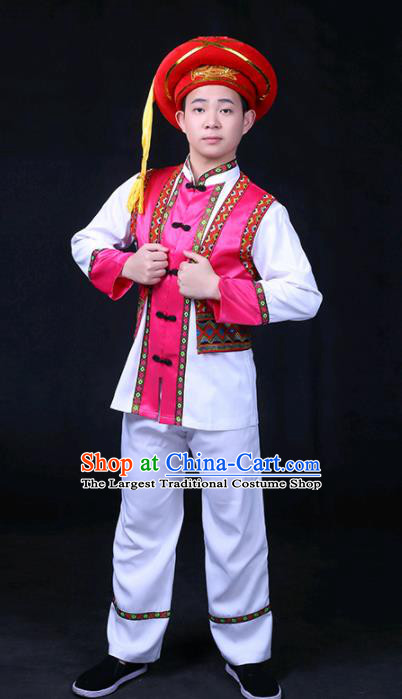 Chinese Traditional Bai Nationality Festival Compere Rosy Outfits Ethnic Minority Folk Dance Stage Show Costume for Men