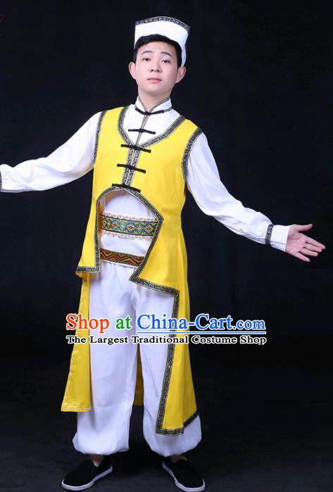 Chinese Traditional Daur Nationality Festival Compere Yellow Outfits Ethnic Minority Folk Dance Stage Show Costume for Men