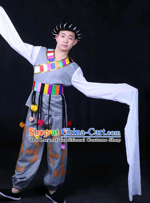 Chinese Traditional Zang Nationality Festival Compere Grey Outfits Ethnic Minority Folk Dance Stage Show Costume for Men