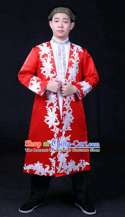 Chinese Traditional Ozbek Nationality Festival Compere Red Outfits Ethnic Minority Folk Dance Stage Show Costume for Men