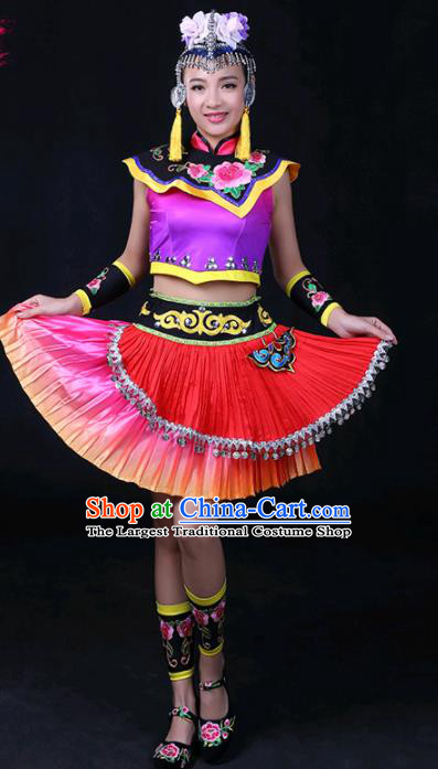 Chinese Traditional She Nationality Stage Show Short Dress Ethnic Minority Folk Dance Costume for Women