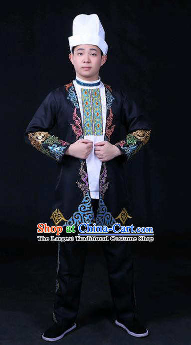 Chinese Traditional Khalkhas Nationality Festival Compere Black Outfits Ethnic Minority Folk Dance Stage Show Costume for Men