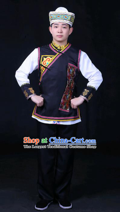 Chinese Traditional Tu Nationality Festival Compere Black Outfits Ethnic Minority Folk Dance Stage Show Costume for Men