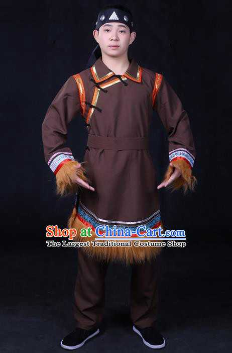 Chinese Traditional Ewenki Nationality Compere Brown Outfits Ethnic Minority Folk Dance Stage Show Festival Costume for Men