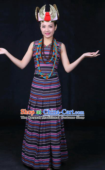 Chinese Traditional Drung Nationality Stage Show Dress Ethnic Minority Folk Dance Costume for Women