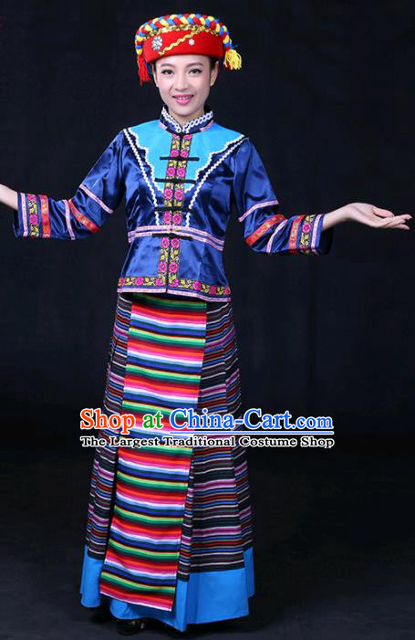 Chinese Traditional Menba Nationality Stage Show Navy Dress Ethnic Minority Folk Dance Costume for Women