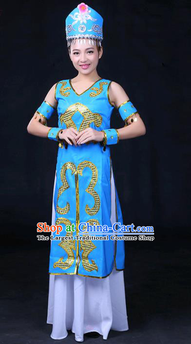 Chinese Traditional Xibe Nationality Stage Show Blue Dress Ethnic Minority Folk Dance Costume for Women