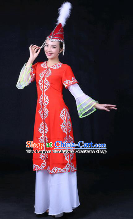 Chinese Traditional Khalkhas Nationality Stage Show Red Dress Ethnic Minority Folk Dance Costume for Women