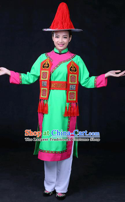 Chinese Traditional Yughur Nationality Stage Show Green Dress Ethnic Minority Folk Dance Costume for Women