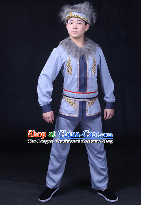 Chinese Traditional Hezhen Nationality Compere Blue Outfits Ethnic Minority Folk Dance Stage Show Festival Costume for Men