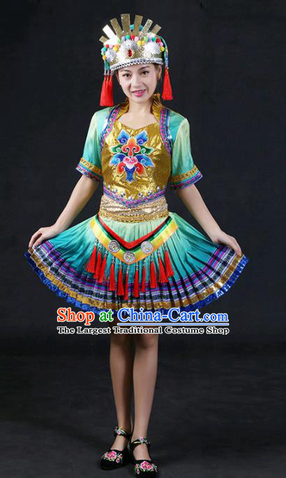 Chinese Traditional Yao Nationality Stage Show Green Short Dress Ethnic Minority Folk Dance Costume for Women