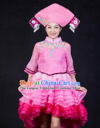 Chinese Traditional Zhuang Nationality Stage Show Pink Short Dress Ethnic Minority Folk Dance Costume for Women